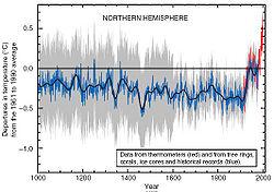 """Les températures sont """"remarquablement"""" stables sur le dernier millénaire. L'optimum médiéval et le petit âge glaciaire ont été """"gommés"""". Cela permettait de """"démontrer"""" que les températures actuelles n'avaient aucun précédent et que c'est bien la démographie et l'augmentation du CO² engendré par l'homme qui était à l'origine du réchauffement."""